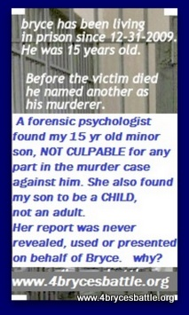 she found my son bryce vandergrift to not be culpable in any part in the case against him, why wasn't her report used to save my son who had just turned 15 years old.